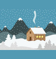 evening winter landscape with mountains on vector image vector image