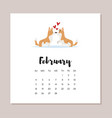 february dog 2018 year calendar vector image vector image