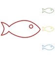 Fish sign Set of line icons vector image