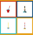 flat icon cleaner set of bucket sweep broomstick vector image vector image