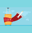 flat travel with airplane design concept vector image vector image