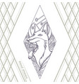 fox tattoo hand drawn black vector image