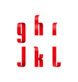 g h i j k l lowercase letters font from a red vector image vector image