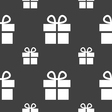 Gift box icon sign Seamless pattern on a gray vector image vector image