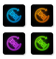 glowing neon waiting icon isolated on white vector image
