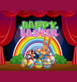 happy easter card template with bunny and eggs vector image vector image