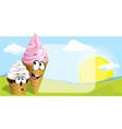 ice cream - cute cartoon on natural backgro vector image vector image