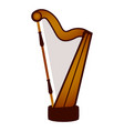 isolated harp musical instrument vector image vector image
