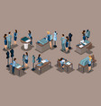 isometrics girl tailor a set concepts for work vector image vector image
