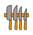 knives set color icon vector image