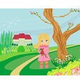 Little girl is walking walking in spring day with vector image
