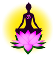 Meditating woman with om symbol and lotus vector | Price: 1 Credit (USD $1)