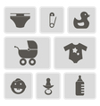 monochrome icons with baby stuff vector image vector image