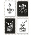 morden cards with coffee elements and lettering vector image vector image