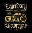 motorcycle sport t-shirt emblem vector image vector image