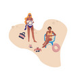 people at beach cartoon characters sunbathing vector image
