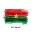 realistic watercolor painting flag burkina faso vector image vector image