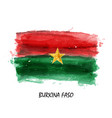 realistic watercolor painting flag of burkina faso vector image