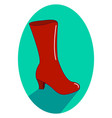 red woman boot on white background vector image vector image