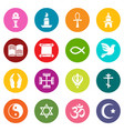 religion icons set colorful circles vector image vector image