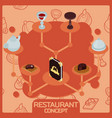 restaurant color isometric concept icons vector image