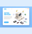 retro gadget isometric composition vector image