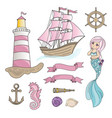 sailboat mermaid sea travel color vector image