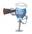 sailor with binocular clyster mascot cartoon style vector image vector image