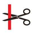 Scissors cutting a red ribbon vector image vector image