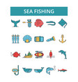 sea fishing thin line icons linear vector image
