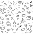 seamless pattern with isolated fitness doodles vector image vector image