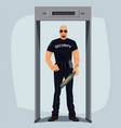security guard with metal detector vector image vector image