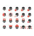 set human skulls colored icon healthy cranium vector image