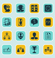 set of 16 management icons includes successful vector image vector image