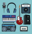 set of music instruments vector image vector image