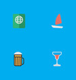 set of simple travel icons elements wine vector image vector image