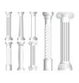 set realistic antique columns or realistic vector image vector image