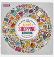 set shopping cartoon doodle objects vector image