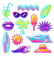 set stylized summer objects abstract vector image vector image