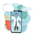 smartphone with male doctor on smartphone vector image vector image