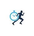 timer run logo icon design vector image vector image