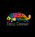 turtle colorful logo black silhouette for your vector image vector image