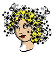 vintage woman with flowers vector image vector image