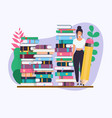 woman with pencil education concept science vector image vector image