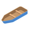 wood boat icon isometric style vector image vector image
