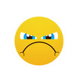 yellow cartoon face angry people emotion icon vector image vector image