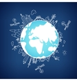Global information network on the globe vector image