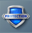 shiny protection metal shield realistic safety vector image