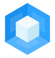3d cube projections on blueprint isometric vector image vector image
