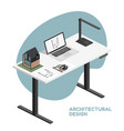 architect isometric desktop with tools including